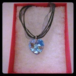 Jewelry - Aruba Blue Crystal Heart Necklace